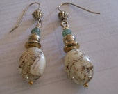 White Turquoise and Amazonite Earrings with Sterling Silver Bead Accents