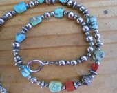 Stunning Necklace Of Coral,Turquoise and Sterling Silver with Toggle Clasp