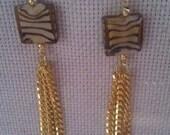 Tigerskin drop earrings and bracelet set
