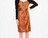 Vintage Escada Python and Leopard Print Metallic Dress with Velvet Sleeves