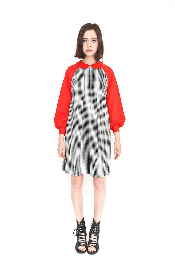 Vintage Red and Houndstooth Collared Babydoll Dress