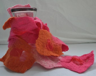 Nuno Felted Scarf, Orange, Pink and White, Peppermint Twist