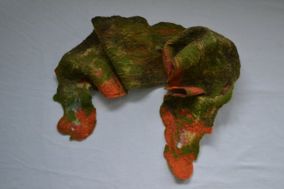 Nuno Felted Scarf, Green Brown and Orange, October