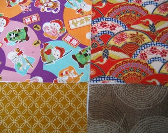 Four japanese fabric Scrap Pack.Pieces.n1