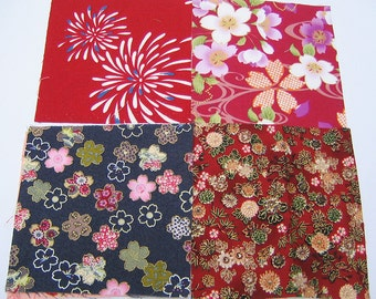 Four japanese fabric Scrap Pack.Pieces.n20