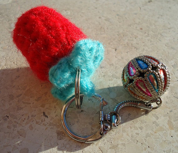 Handmade Japanese Strawberry Sherbet Crochet Keychain.n2
