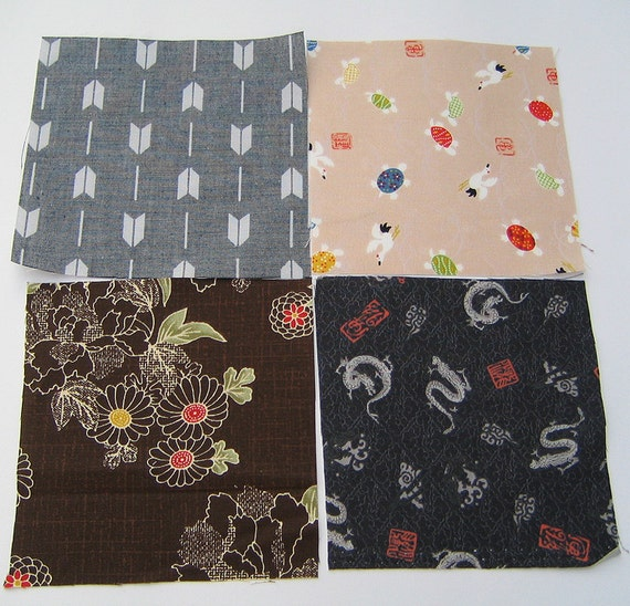 Reserved for an angel.Thanks.Four japanese fabric Scrap Pack.Pieces.n16