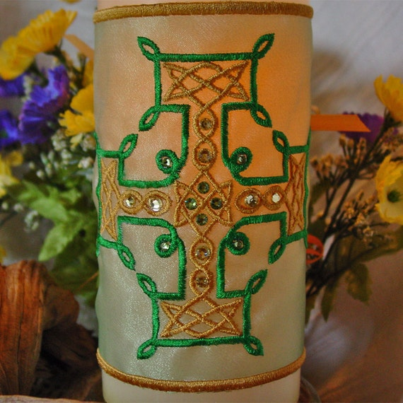 Celtic Knot Cross, Embroidered and Embellished with Swarovski Crystals, Candle Wrap Only
