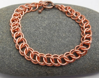 Copper Chainmaille Bracelet - Half Persian Chainmail