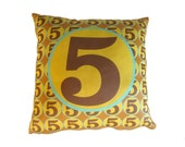 SALE - Monogram Number Pillow, Decorative Pillow retro inspired - featuring number Five, a perfect gift for any occasion
