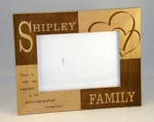 "5x7 Custom Personalized Engraved Wood Checker Family 5"" x 7"" Photo Picture Frame."