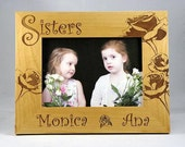"""5x7 Engraved Custom Personalized 5"""" x 7"""" Sisters Sister Rose Flower Photo Picture Frame"""