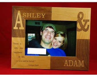 "5x7 Couple's Engraved Wood Checker Custom Personalized   5"" x 7"" Photo Picture Frame."