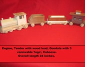 Natural, Eco Friendly, Handmade Wooden Train