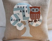 Burlap Owl Boys Are A Hoot Pillow