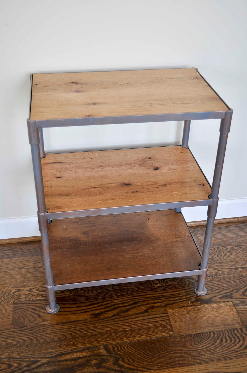 3 shelf barn wood and metal bedside table by dohlerdesigns for Bedside table shelf