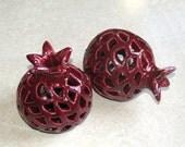 Handmade Ceramic Decorative  POMEGRANATE Wine Color