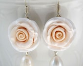 Earrings of pink and beige hand sculpted polymer clay roses
