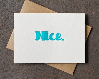 Letterpress Graduation Congratulations Card - Nice - Teal