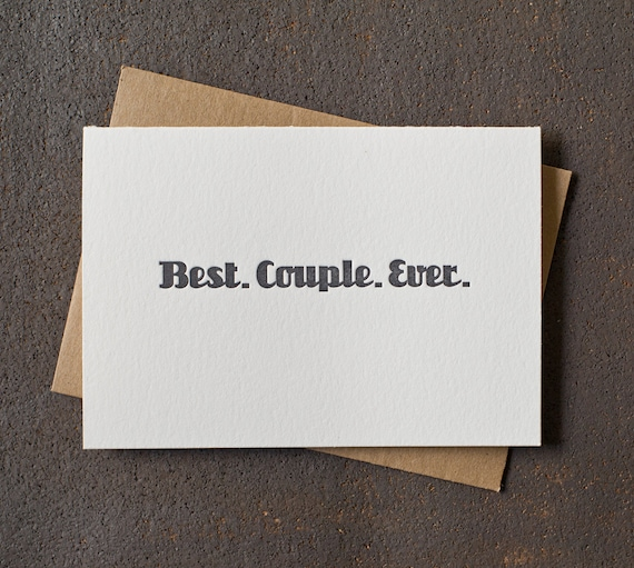 Letterpress Love / Wedding / Anniversary Card - Best Couple Ever - Grey