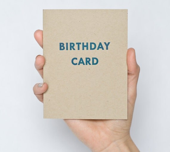 "Letterpress ""Birthday Card"" - Kraft Paper - Blue Ink"