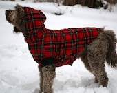 Red Plaid Fleece Big Dog Coat