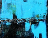 High Quality Archival Print of Abstract Painting, Titled:  Black and Blue, 24 x 30