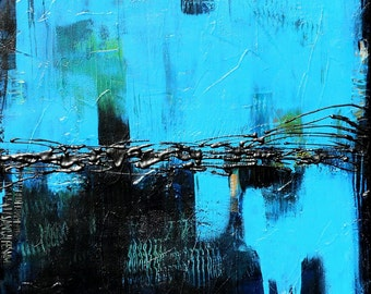 High Quality Hand Signed Print of Abstract Painting, Titled:  Black and Blue, 24 x 30
