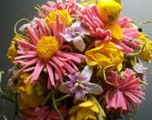 Pink, yellow and white mini flower arrangement in copper watering can-ready to ship