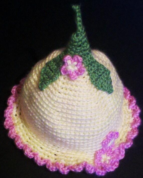 Crochet Pattern For Flower Fairy Primrose Hat : Baby Hat Crochet Flower Fairy Light Yellow & Pink by ...