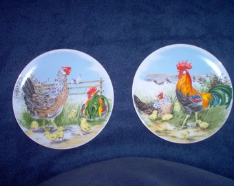 Rooster Plates - Pair of Vintage Rooster Plates Made in Japan