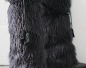 Deluxe Black Faux Fur Boot Covers and Leg Warmers