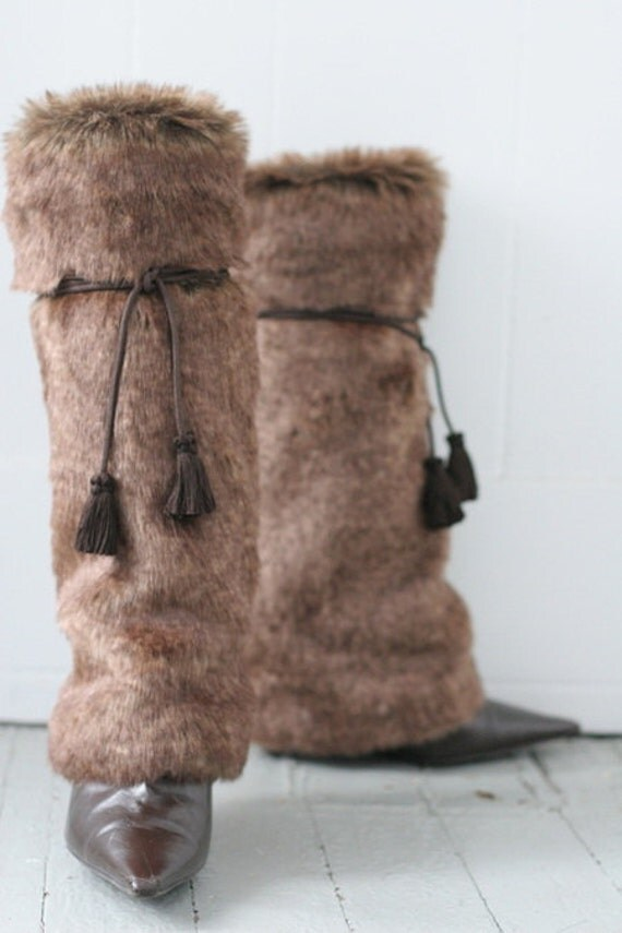 limited time sale sleek brown faux fur boot covers and leg