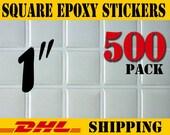 "500 pcs. Square 1"" ( 25.4mm )Clear Epoxy Stickers"