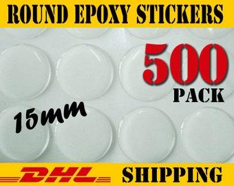 500 pcs Round 15mm  Clear Epoxy Stickers