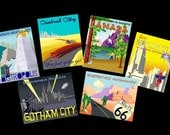 vintage superhero funpack post cards set