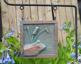 Frog copper garden plaque