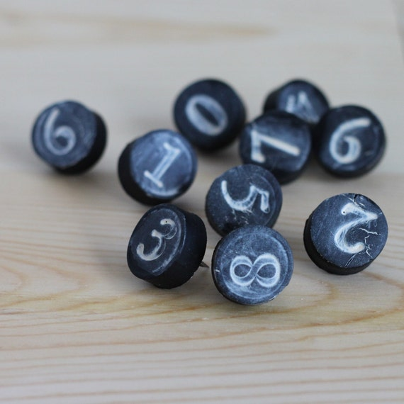number thumbtack push pins, black clay