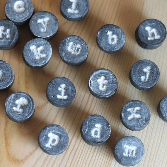 lowercase alphabet magnets // typography decor // typewriter font // letter magnets // abc magnets // cute fridge magnets // office supplies