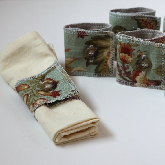 linen napkin rings, set of six, blue floral and taupe
