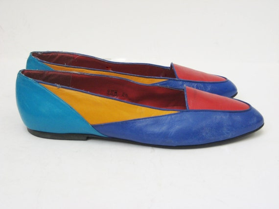 Vintage Mulit-colored Leather Loafer, size 9