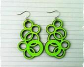 Laser Cut Neon Green Wood Earrings (Style 3)