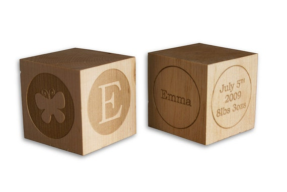 Custom Listing for April: (5) Personalized Baby Blocks Laser Engraved