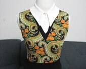 Vintage Knit Paisley school girl mod 60s madmen Aline dress w/ matching sweater  S/M