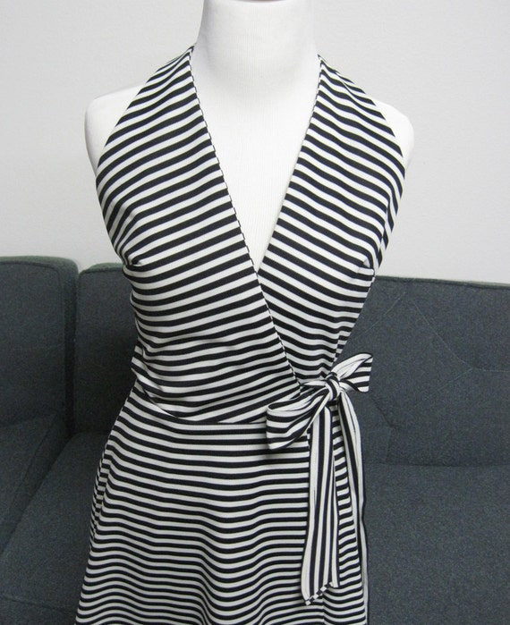 RESERVED for Lisa   Vintage 60s Stripe Mod scooter wrap Dress Aline Small