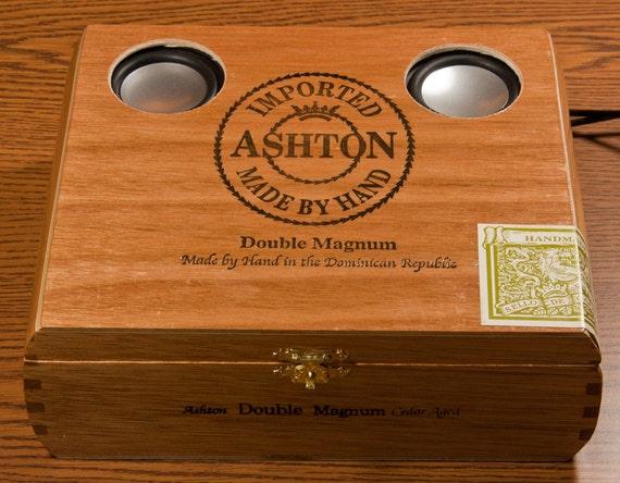 Steampunk iPod & iPhone Sound System - Ashton Double Magnum Cigar Box
