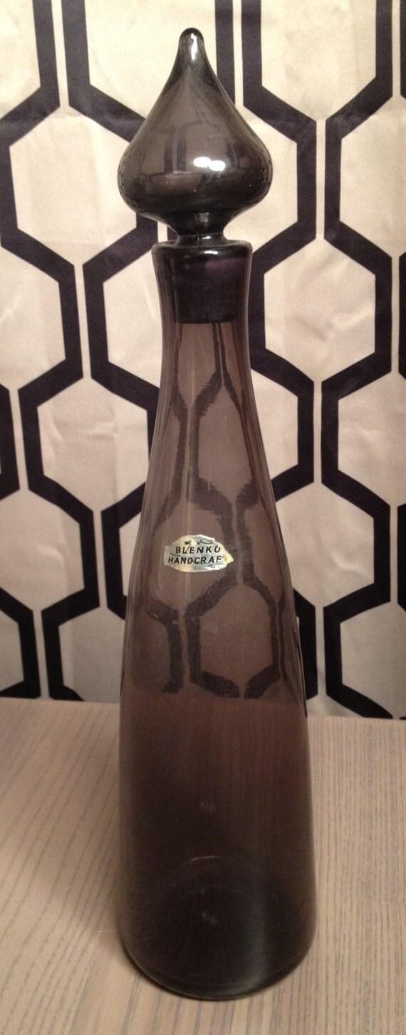 Blenko decorative glass decanter in mulberry