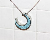 Moon Pendant/ Necklace - New Moon - Stainless Steel and Powder Blue Tinted Concrete with Clear Crushed Glass