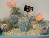 Upcycled Mason Jars Blue/ Wedding Centerpieces