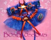 set tc University of FLORIDA GATORS fabric handmade on blue organza into wedding garters - garter set - size xs s m l xl xxl